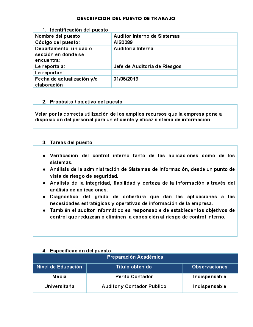 Modelo Descriptor de Puesto 219 - pdf Docer.com.ar